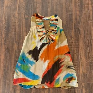 Anthropologie | 100% Silk Patterned Tuxedo Top 💙